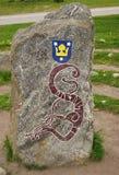 Mittelalterlicher schwedischer Runenstein, Erinnerungsstein in Sigtuna Stockfotografie