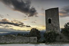 Mittelalterlicher Sonnenuntergang Stockbild