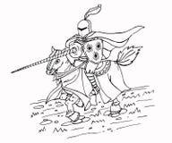 Mittelalterlicher Stangen-Ritter auf Pferd Tintenillustration lizenzfreie abbildung