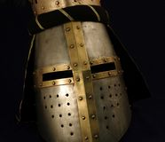 Mittelalterlicher Sturzhelm Stockfoto