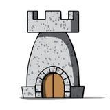 Mittelalterlicher Turm der Karikatur. Vektorillustration Stockfotos