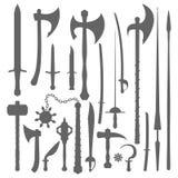 Mittelalterlicher Waffenschattenbildsatz Stockfotografie