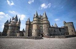 Mittelalterliches altes Stadtschloss Vitre stockfoto
