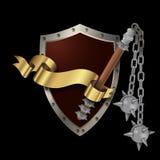Mittelalterliches befestigtes Schild mit Dreschflegel und Band Lizenzfreies Stockbild