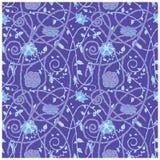 Mittelalterliches Blumenmusterblau Lizenzfreie Stockfotos