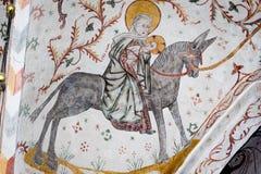 Mittelalterliches Fresko des Fluges in Ägypten Stockbilder
