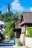 Mittelalterliches gotisches Stramberk-Schloss und historische Stadt, Moray, Tschechische Republik, Europa Stockfotografie