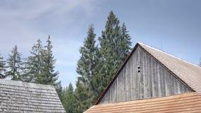Mittelalterliches hölzernes Dorf im Gebirgstal