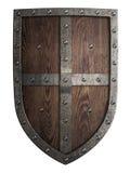Mittelalterliches hölzernes Schild des Kreuzfahrers lokalisiert lizenzfreie stockfotos