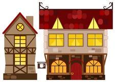 Mittelalterliches Haus und Taverne Stockfoto