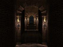 Mittelalterliches Korridor- und Eisenschlosstor Stockfotos