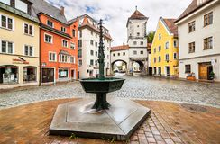 Mittelalterliches lech Stadt-Landsberg morgens, Deutschland Stockbild
