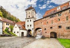 Mittelalterliches lech Stadt-Landsberg morgens, Deutschland Lizenzfreie Stockbilder