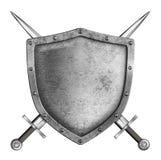 Mittelalterliches Metallritterschild mit den gekreuzten Klingen lokalisiert Stockbild