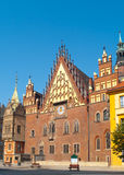 Mittelalterliches Rathaus von Wroclaw, Polen Stockfotografie