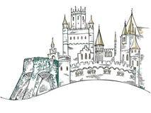 Mittelalterliches Schloss das historische Gebäude Märchenfestung Stockfotos