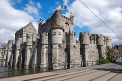 Mittelalterliches Schloss Gravensteen in Gent Stockbilder