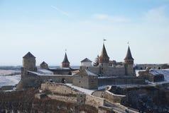 Mittelalterliches Schloss im Winter Stockbild