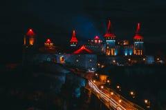 Mittelalterliches Schloss nachts in Ukraine Lizenzfreies Stockfoto