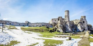 Mittelalterliches Schloss Ogrodzieniec in Polen Lizenzfreie Stockfotografie