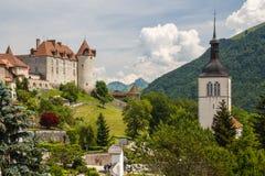 Mittelalterliches Schloss von Gruyeres lizenzfreie stockfotos