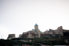 Mittelalterliches Schloss von Stadt Narikala und Tifliss Überblick, Republik Georgien Lizenzfreie Stockbilder