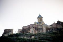 Mittelalterliches Schloss von Stadt Narikala und Tifliss Stockbild