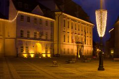 Mittelalterliches Sibiu während Christma Lizenzfreie Stockbilder