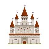 Mittelalterliches verstärktes Schloss von König- oder Lordsymbol Lizenzfreie Stockfotos