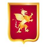 Mittelalterliches Wappen in Form von ein neuen französischen Goldschild wi Stockfotografie