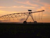 MittelgelenkBewässerungssystem auf dem Bauernhofgebiet bei Sonnenuntergang lizenzfreies stockbild