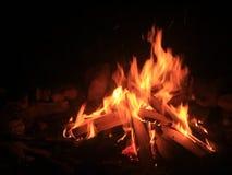 Mittelgroßes Feuer während der Nacht stock video footage