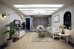 Mittelmeer-Art Wohnzimmer lizenzfreie stockfotografie