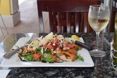 Mittelmeerdiätplatte, Huhn und Salatgrüns stockfotografie