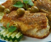 Mittelmeerküche, Spanisch-ähnlicher Kabeljau lizenzfreies stockfoto