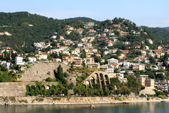 Mittelmeerküste Albissola-Jachthafen, Savona, Italien Stockbild