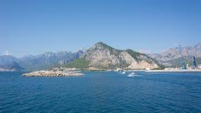 Mittelmeerküstenhafen von Antalya, Ansicht Stockfoto