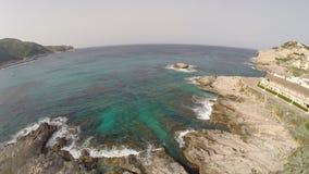 Mittelmeerküstenlinie von Cala Rajada - Luftflug, Mallorca stock video footage