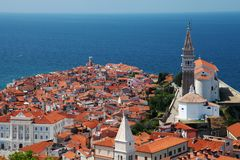 Mittelmeerstadt-piran Slowenien lizenzfreies stockfoto