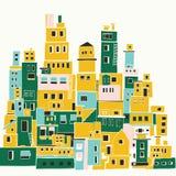Mittelmeerstadt, sonniges Dorf, indische Elendsviertel vektor abbildung