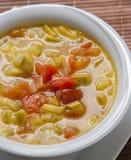 Mittelmeerteller der Zucchini- und Tomatensuppe Lizenzfreie Stockfotografie