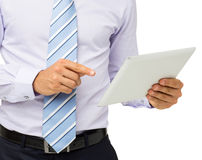 Mittelteil des Geschäftsmannes Using Digital Tablet Stockbild