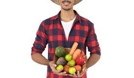Mittelteil des Landwirts einen Korb des Gemüses halten Lizenzfreie Stockfotografie