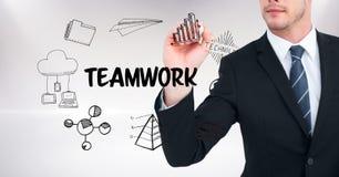 Mittelteil von Geschäftsmannzeichnungsikonen der Teamwork Lizenzfreie Stockfotografie