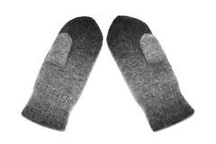 Mitten. Gray mitten on white background stock photography