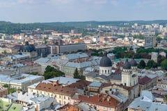 Mitten av Lviv Arkivfoton
