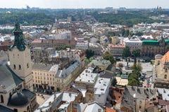 Mitten av Lviv Arkivbilder