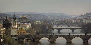 Mitten av Prague, den Vltava floden, broar Royaltyfria Bilder