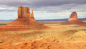 Mitten Buttes under clouds stock images