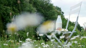 Mitten in einem Kamillenrasen auf einem weißen Stuhl ist eine Flasche Milch, auch es gibt ein Glas Milch und Brot notwendigkeiten stock video footage